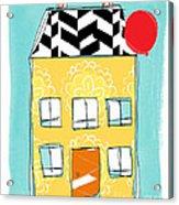 Yellow Flower House Acrylic Print by Linda Woods