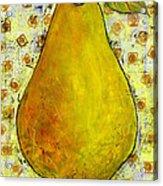Yellow Pear On Squares Acrylic Print by Blenda Studio