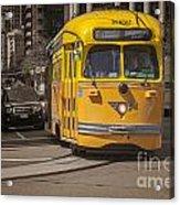 Yellow Vintage Streetcar San Francisco Acrylic Print by Colin and Linda McKie