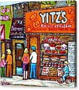 Yitzs Deli Toronto Restaurants Cafe Scenes Paintings Of Toronto Landmark City Scenes Carole Spandau  Acrylic Print by Carole Spandau