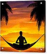 Yoga At Sunset Acrylic Print by Bedros Awak