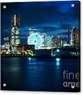 Yokohama Minatomirai At Night Acrylic Print by Beverly Claire Kaiya