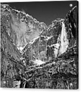 Yosemite Falls In Black And White II Acrylic Print by Bill Gallagher