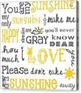 You Are My Sunshine Poster Acrylic Print by Jaime Friedman