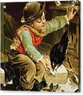 Young Boy With Birds In The Snow Acrylic Print by English School