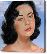 Young Liz Taylor Portrait Remake Version II Acrylic Print by Jim Fitzpatrick