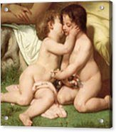 Young Woman Contemplating Two Embracing Children Detail Acrylic Print by William Bouguereau