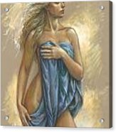 Young Woman With Blue Drape Acrylic Print by Zorina Baldescu