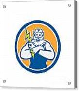 Zeus Greek God Arms Cross Thunderbollt Circle Retro Acrylic Print by Aloysius Patrimonio