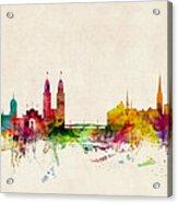 Zurich Switzerland Skyline Acrylic Print by Michael Tompsett