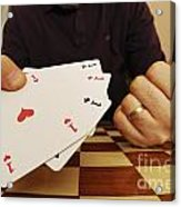 Four Aces In Hands Acrylic Print by Sami Sarkis