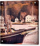 Old Ship Docked On The River Acrylic Print by Jill Battaglia
