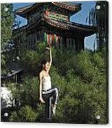 A Chinese Woman In Her 20s To 30s Doing Acrylic Print by Justin Guariglia