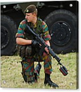 A Soldier Of An Infantry Unit Acrylic Print by Luc De Jaeger