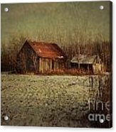 Abandoned Barn After The First Snow Acrylic Print by Sandra Cunningham