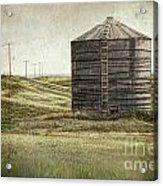 Abandoned Wood Grain Storage Bin In Saskatchewan Acrylic Print by Sandra Cunningham
