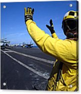 An Aviation Boatswains Mate Directs Acrylic Print by Stocktrek Images