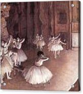Ballet Rehearsal On The Stage Acrylic Print by Edgar Degas