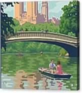 Bow Bridge In Central Park Acrylic Print by Mitch Frey