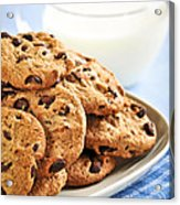 Chocolate Chip Cookies And Milk Acrylic Print by Elena Elisseeva