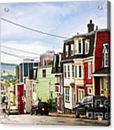 Colorful Houses In Newfoundland Acrylic Print by Elena Elisseeva