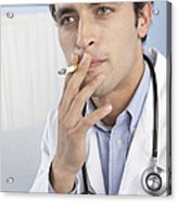 Doctor Smoking Acrylic Print by Adam Gault