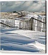 Drifting Snow Along The Beach Fences At Nauset Beach In Orleans  Acrylic Print by Matt Suess