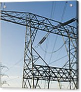 Electricity Pylons Against A Clear Blue Acrylic Print by Iain  Sarjeant