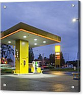Estonian Gas Station At Night Acrylic Print by Jaak Nilson