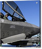 F-35b Lightning II Variants Are Secured Acrylic Print by Stocktrek Images
