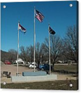 Flags With Blue Sky Acrylic Print by Kip DeVore