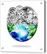 Globe With Cogs And Gears Acrylic Print by Setsiri Silapasuwanchai