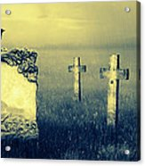 Gravestones In Moonlight Acrylic Print by Jaroslaw Grudzinski