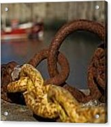 Harbour With Mooring And Fishing Boat Acrylic Print by John Short