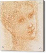 Head Study Of A Girl Acrylic Print by Sir Edward Burne-Jones