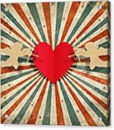 Heart And Cupid With Ray Background Acrylic Print by Setsiri Silapasuwanchai