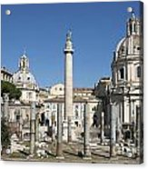 Imperial Fora With The Trajan's Column And The Church Santissimo Nome Di Maria.  Rome Acrylic Print by Bernard Jaubert