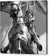 Joan Of Arc Statue French Quarter New Orleans Black And White Acrylic Print by Shawn O'Brien