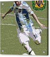 Lionel Messi The Kick Art Deco Acrylic Print by Lee Dos Santos