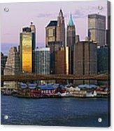 Lower Manhattan Skyline And Brooklyn Bridge At Dawn Acrylic Print by Jeremy Woodhouse