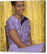 Michelle Obama Wearing An Anne Klein Acrylic Print by Everett