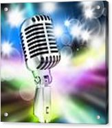 Microphone On Stage Acrylic Print by Setsiri Silapasuwanchai
