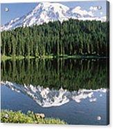 Mt Rainier Reflected In Lake Mt Rainier Acrylic Print by Tim Fitzharris