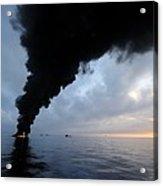 Oil Spill Burning, Usa Acrylic Print by U.s. Coast Guard