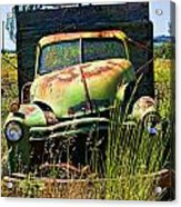 Old Green Truck Acrylic Print by Garry Gay
