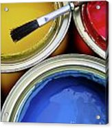 Paint Cans Acrylic Print by Carlos Caetano