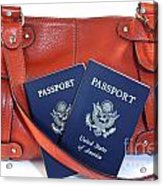 Passports With Orange Purse Acrylic Print by Blink Images