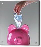 Piggy Bank With Euros Acrylic Print by Tek Image