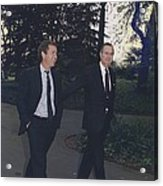 President George H.w. Bush Walks Acrylic Print by Everett