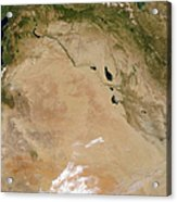 Satellite View Of The Middle East Acrylic Print by Stocktrek Images